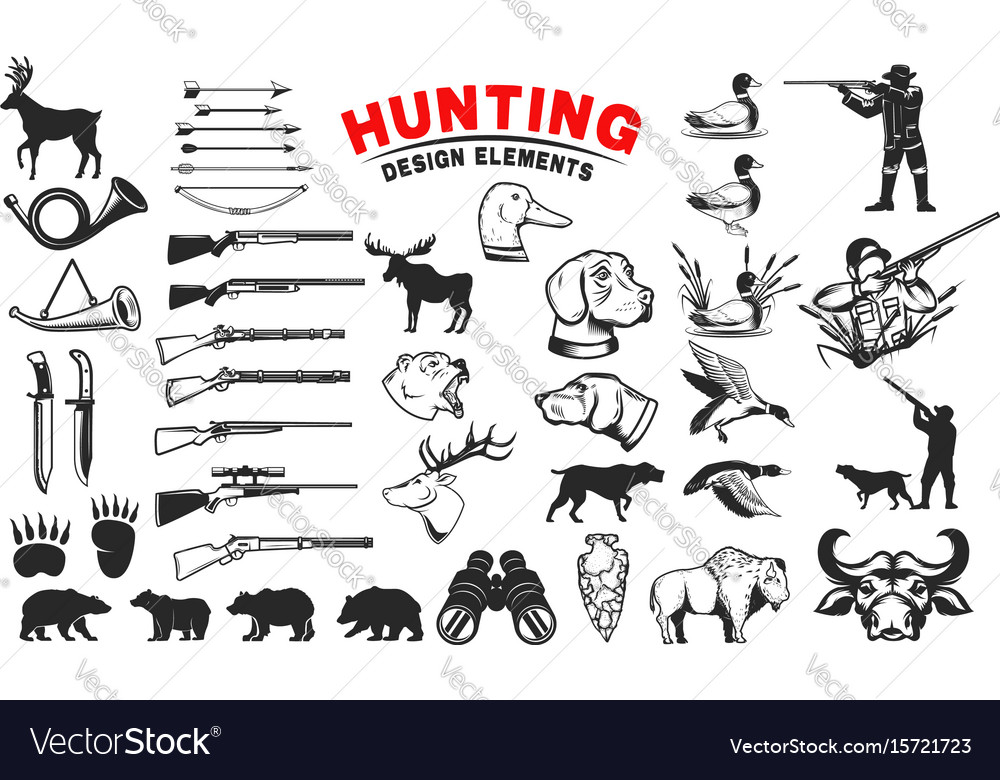 Set of hunting design elements hunting dogs