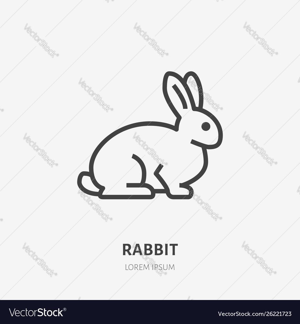 Sitting rabbit flat line icon thin sign of