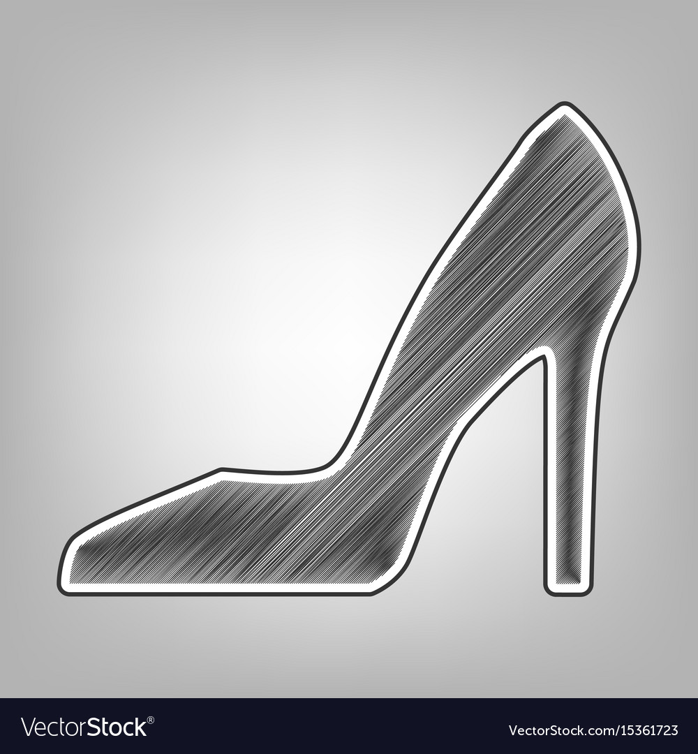 Woman shoe sign pencil sketch imitation vector image