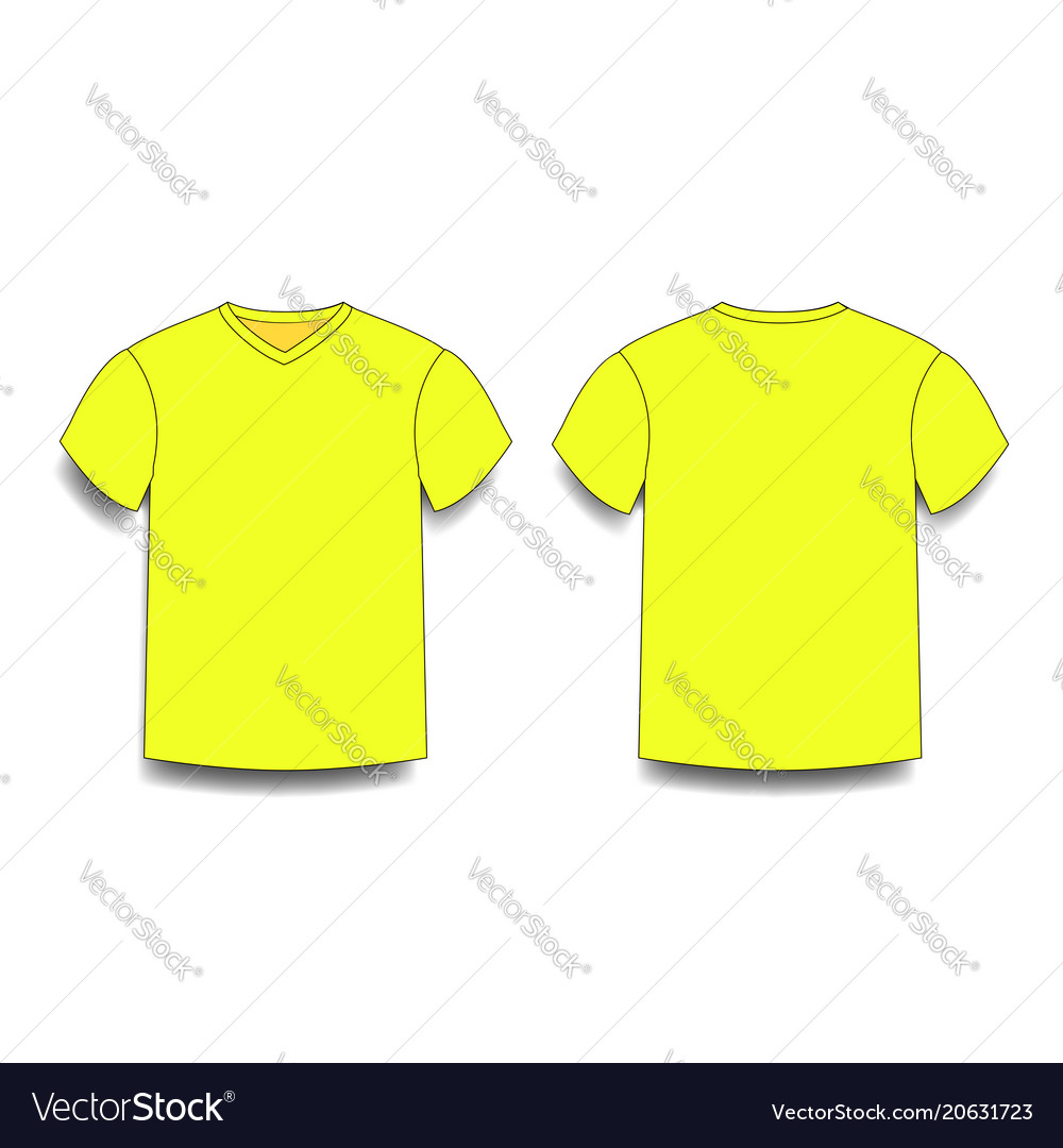 Yellow Male T Shirt Template V Neck Front And Vector Image