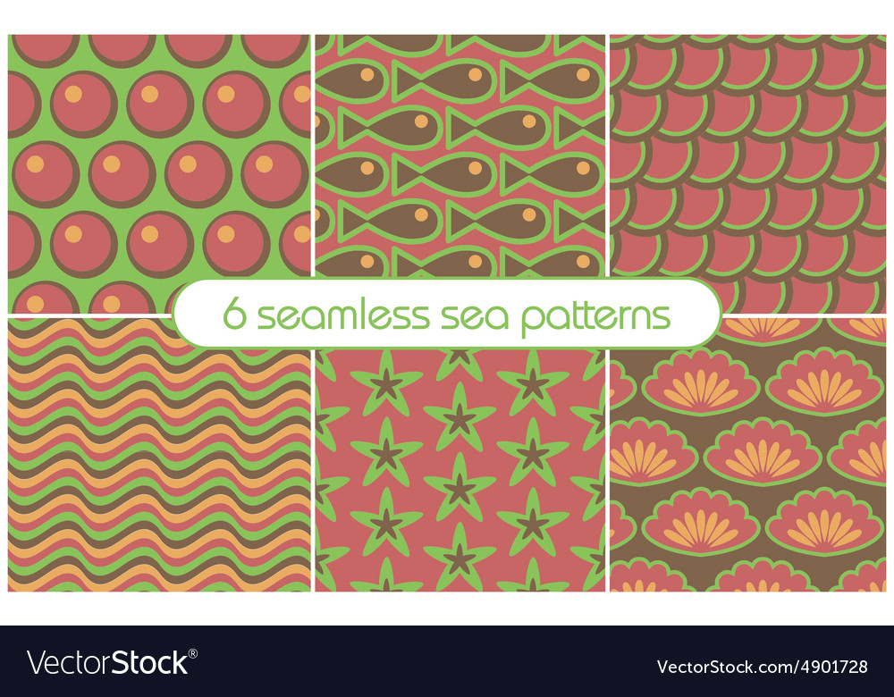 6 different seamless sea patterns tiling