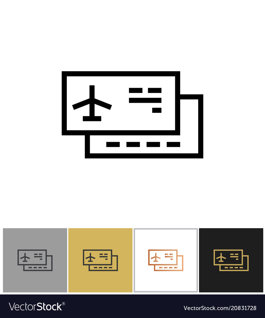 Airplane ticket icon airliner travel ticket or