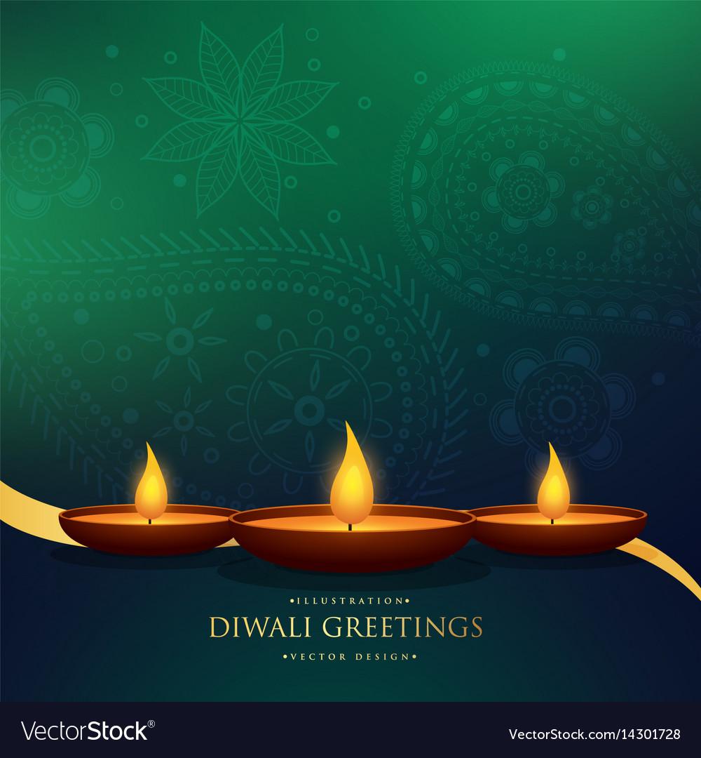 Amazing Happy Diwali Festival Greeting Background Vector Image