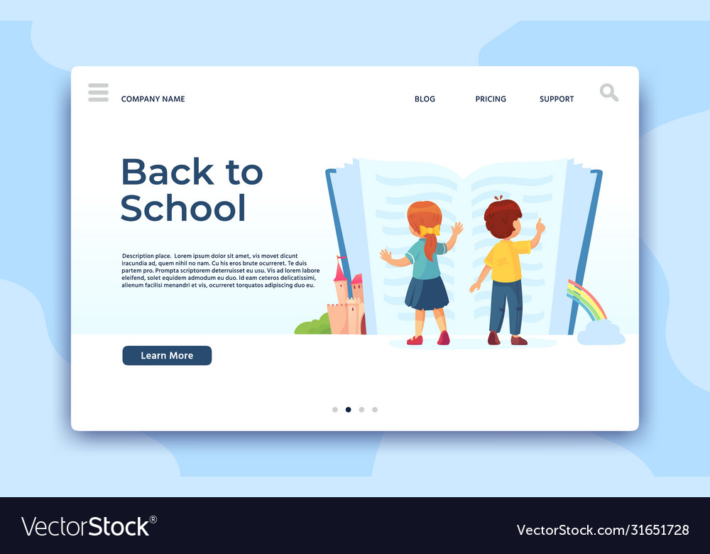 Back to school landing page education and study