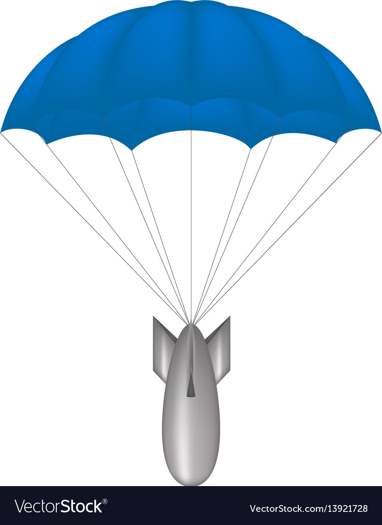 Bomb at blue parachute