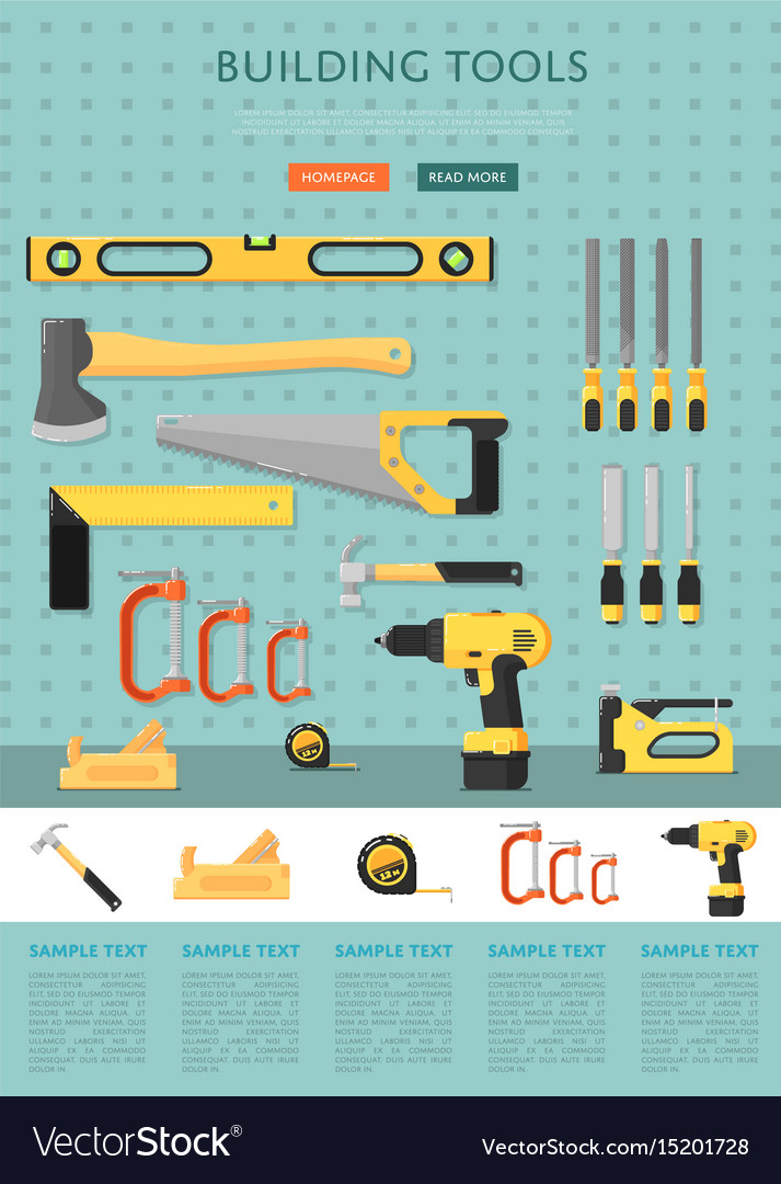 Building tools website template for store Vector Image