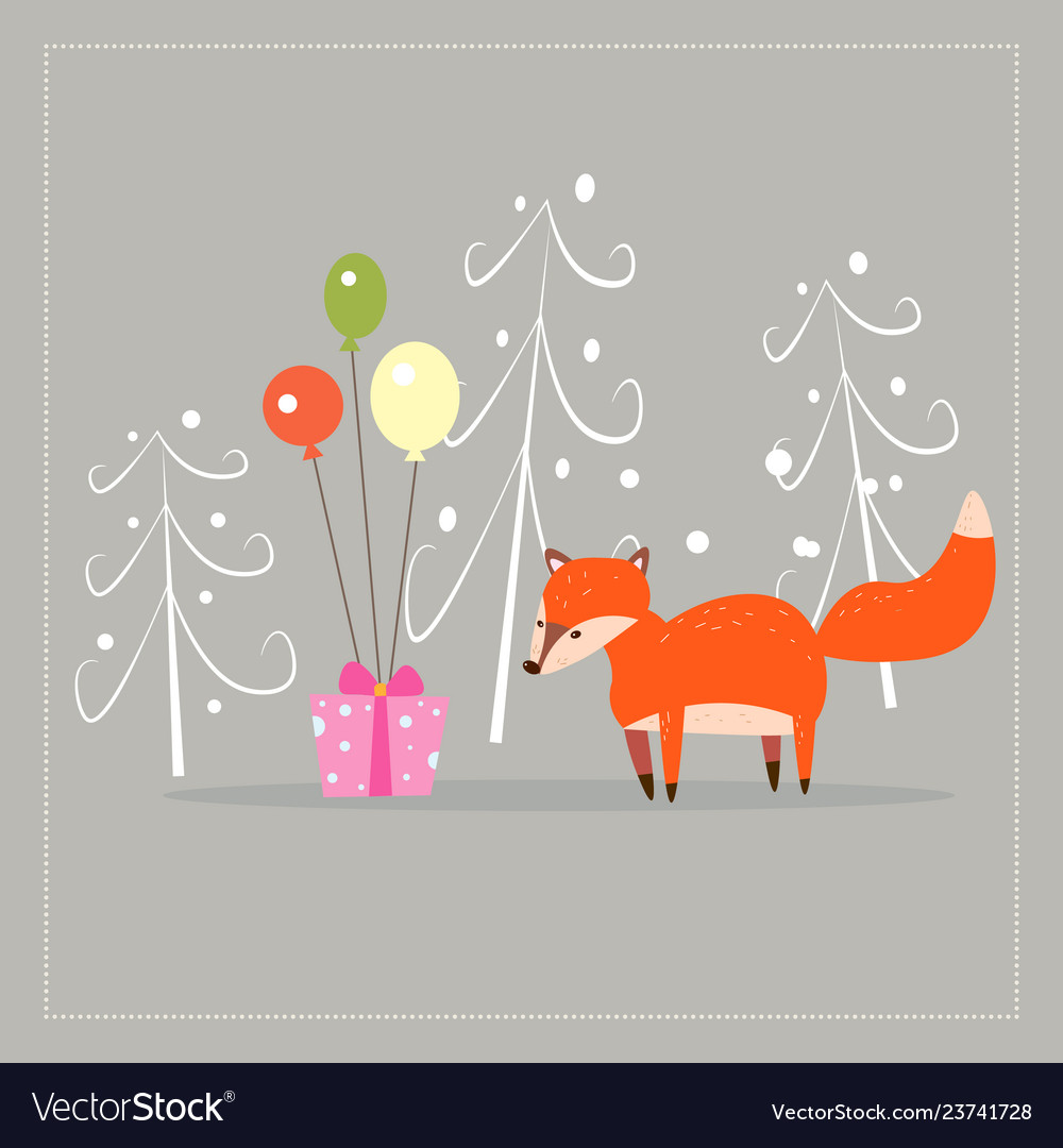 Cartoon fun little foxes fox with gift and ballons