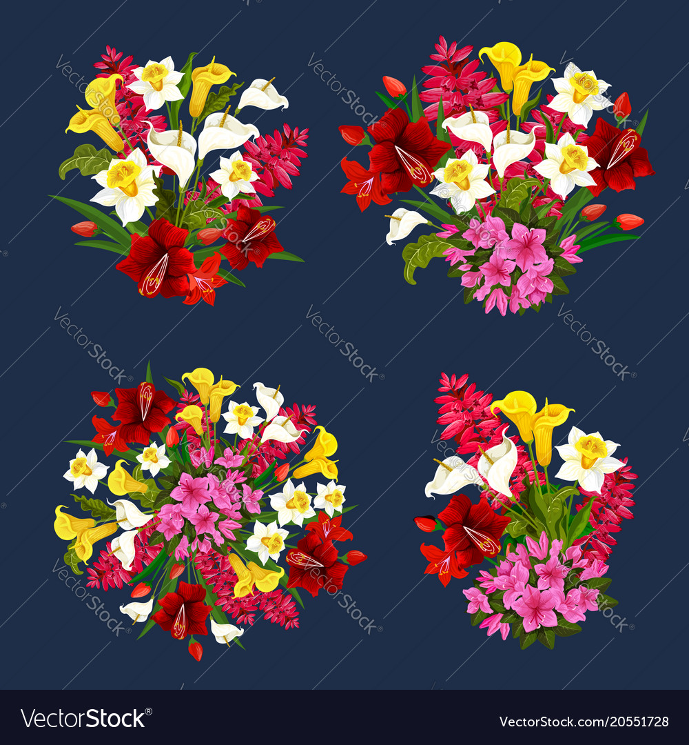 Flower bouquets spring floral icons set Royalty Free Vector