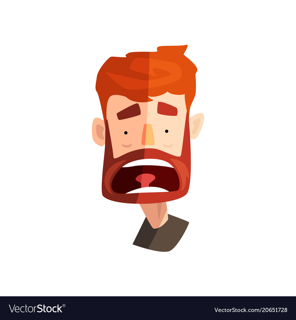 Frightened redhead bearded man male emotional