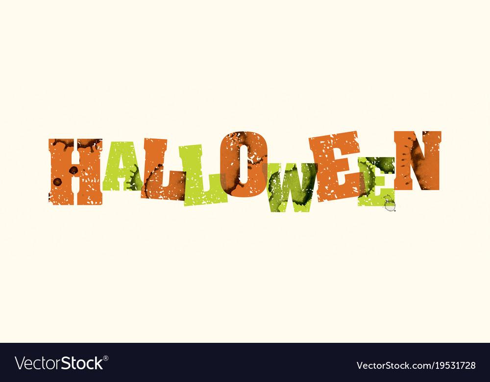 halloween concept stamped word art vector image