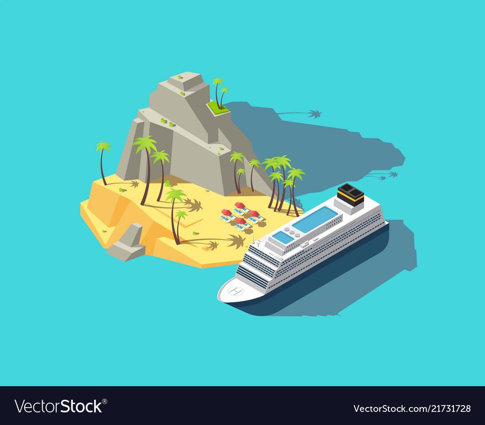 Isometric island paradise in ocean 3d beach in