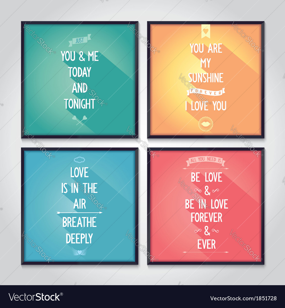 Quote Posters | Love Quote Posters With Flat Design Lettering Vector Image