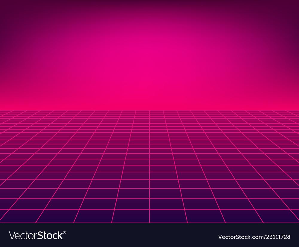 Neon floor perspective grid