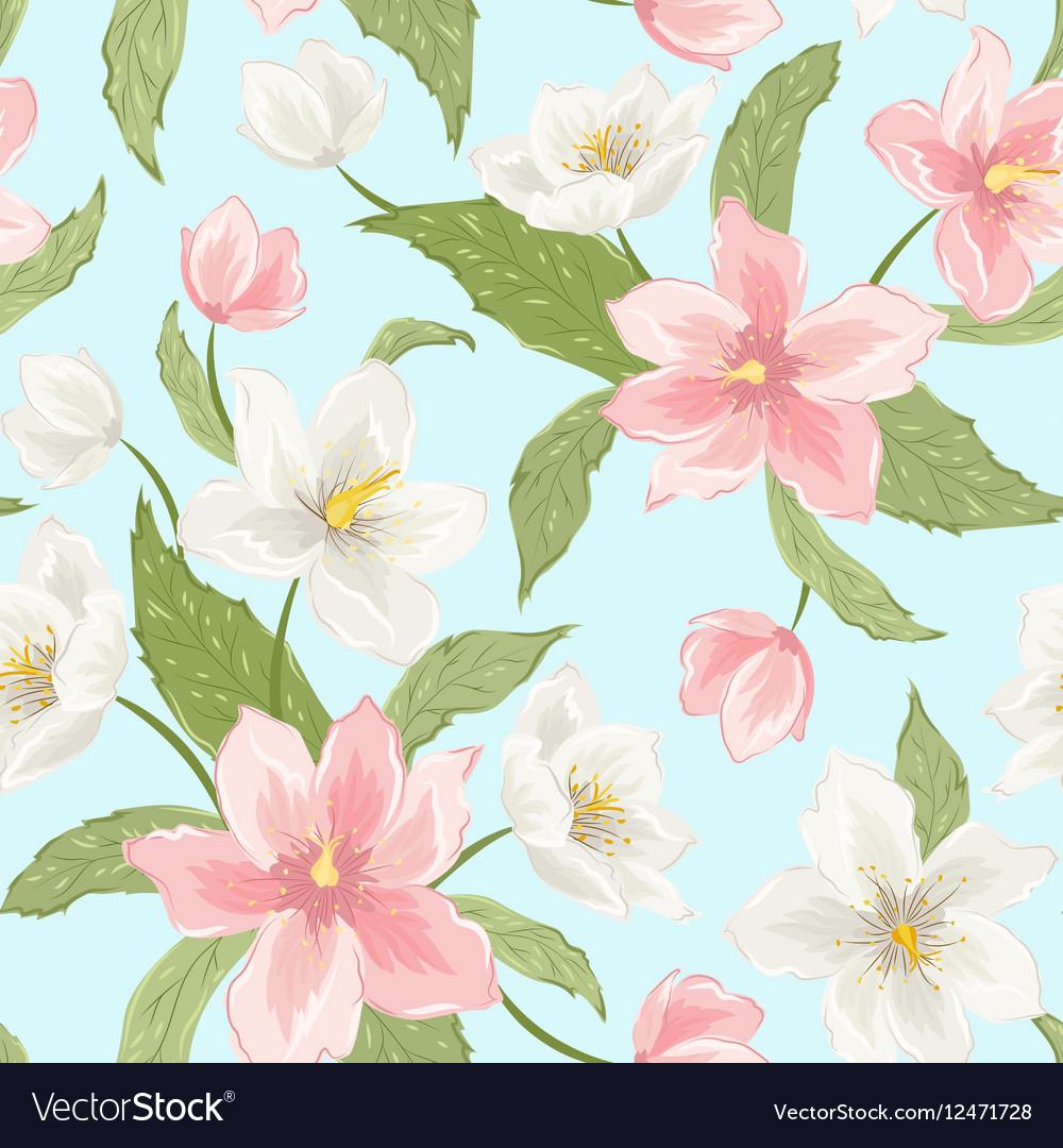 Sakura Magnolia Hellebore Flowers Seamless Pattern
