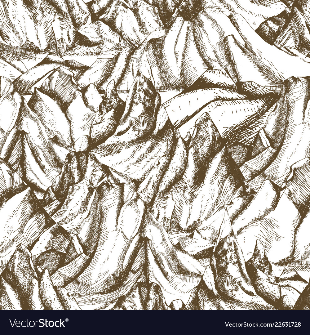 Seamless pattern with mountainous landscape hand