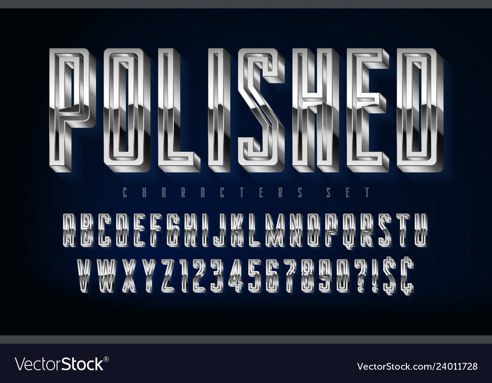Silver 3d polished font gold letters and numbers