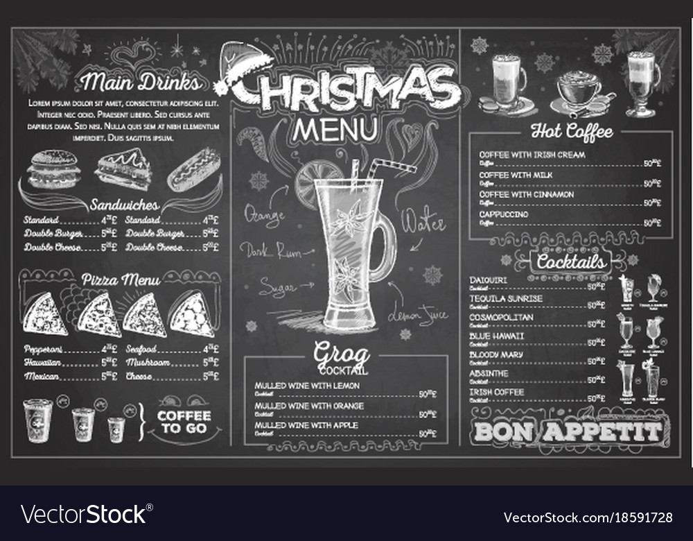 Vintage chalk drawing christmas menu design
