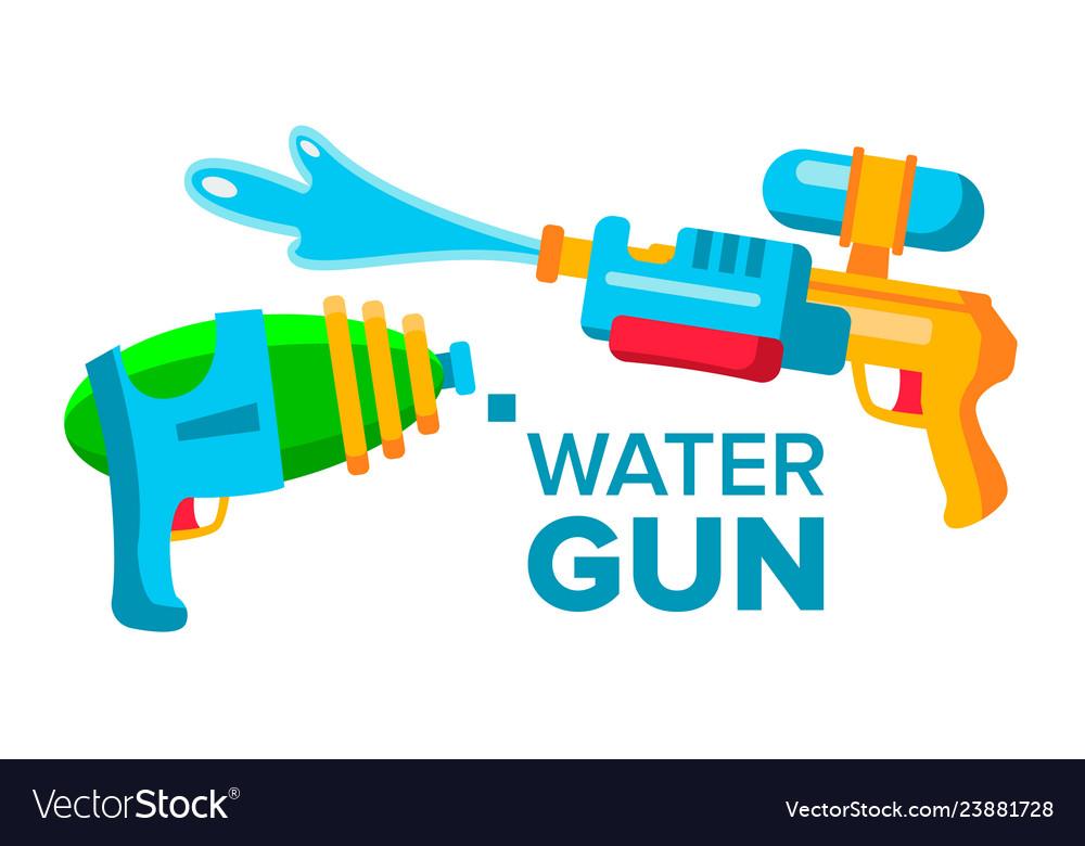 Water gun set isolated flat cartoon