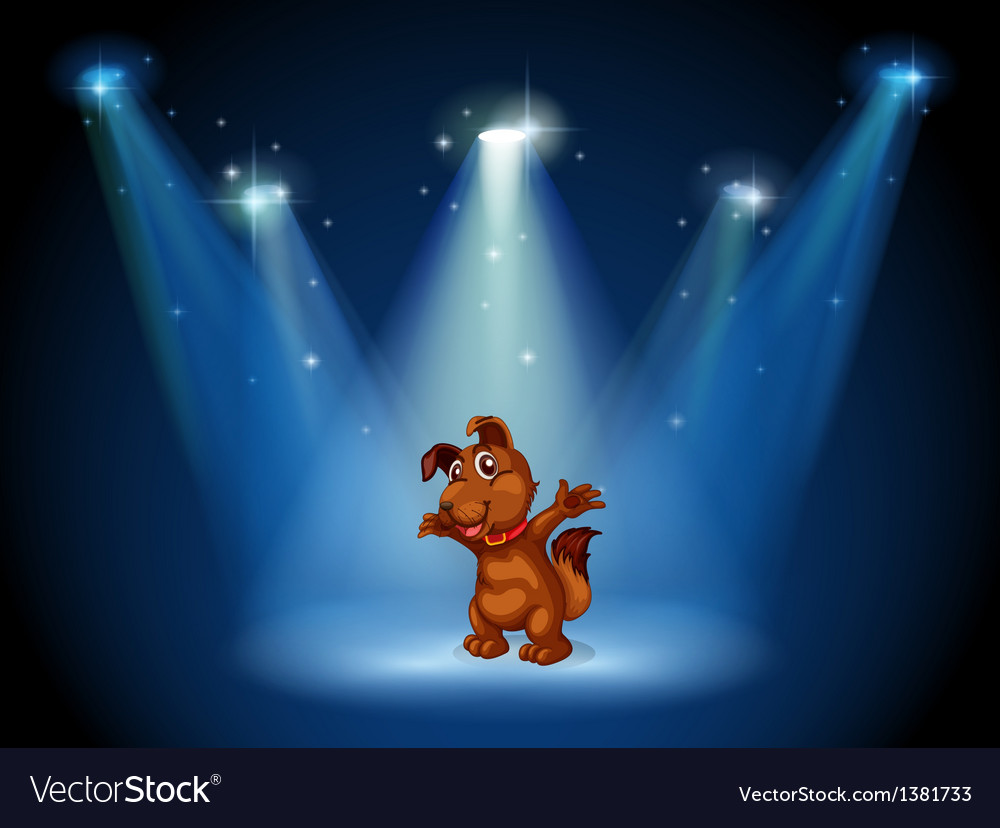 A stage with a dog in the middle vector image
