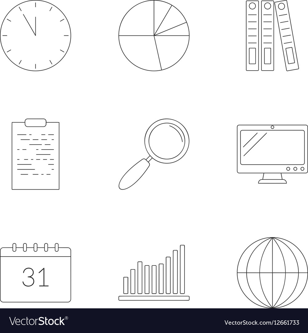 Business planning icons set outline style