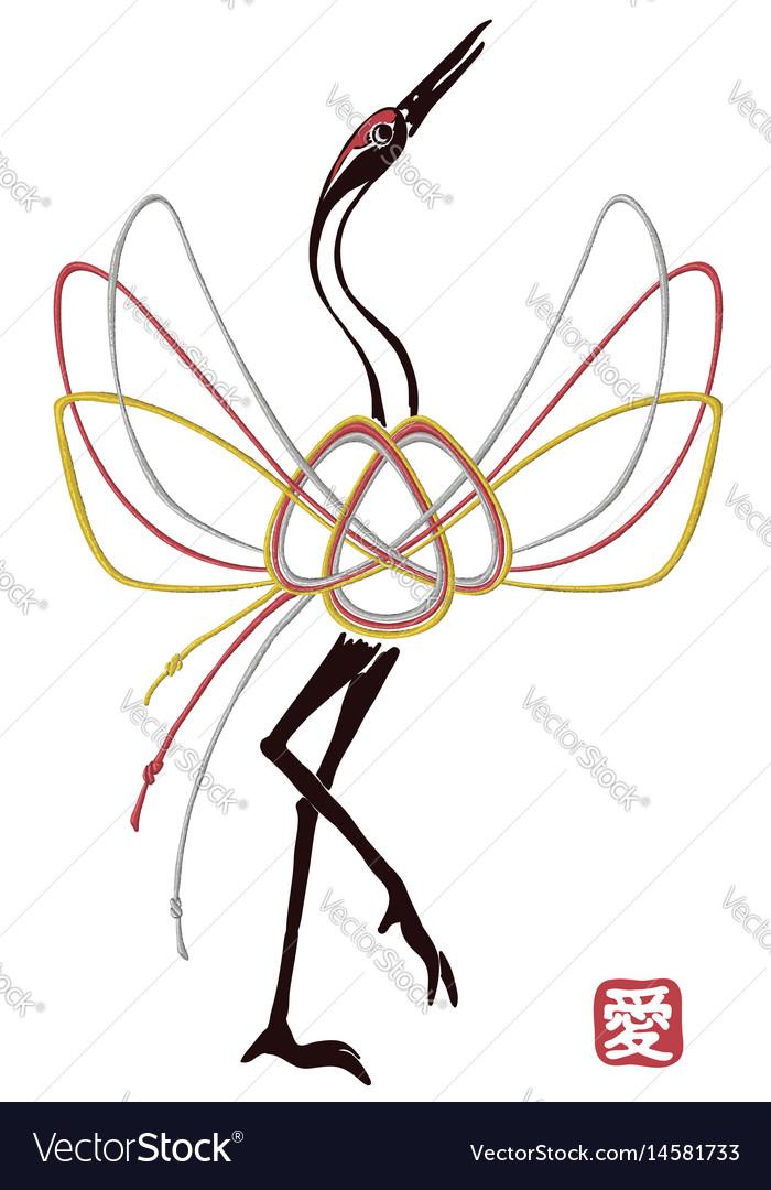 Card with traditional mizuhiki node as crane bird