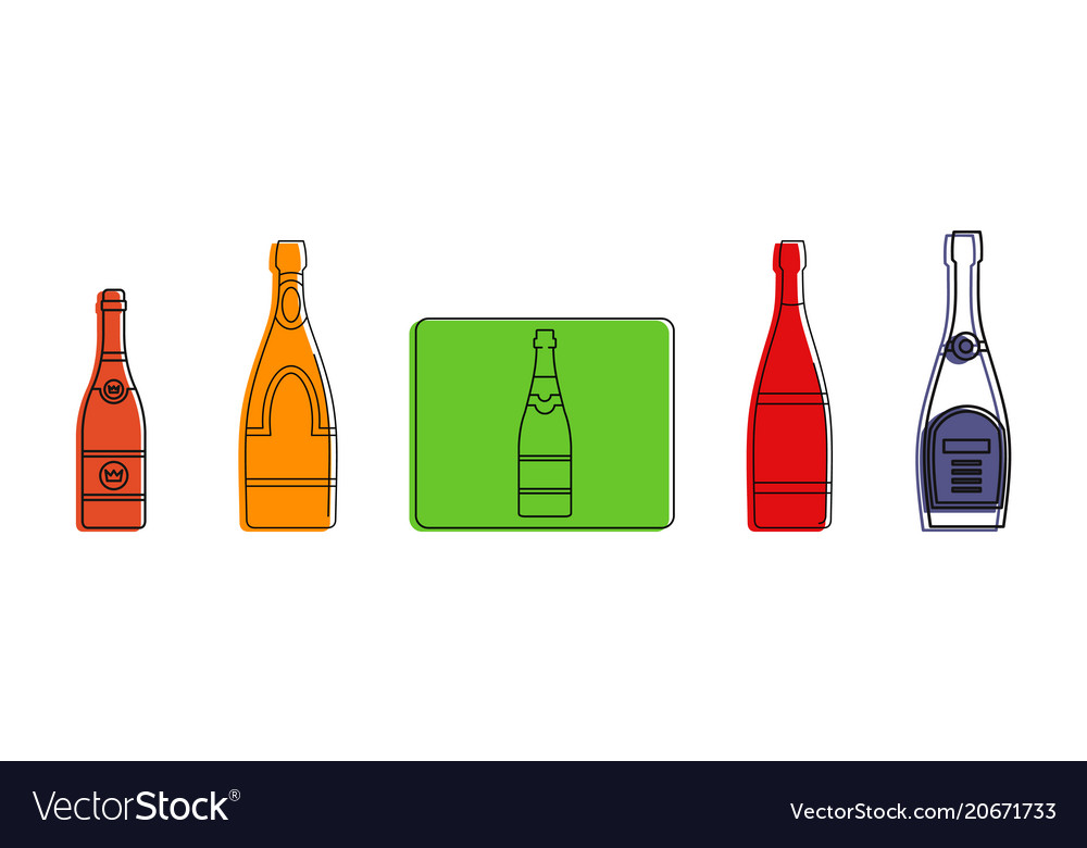 Champagne icon set color outline style