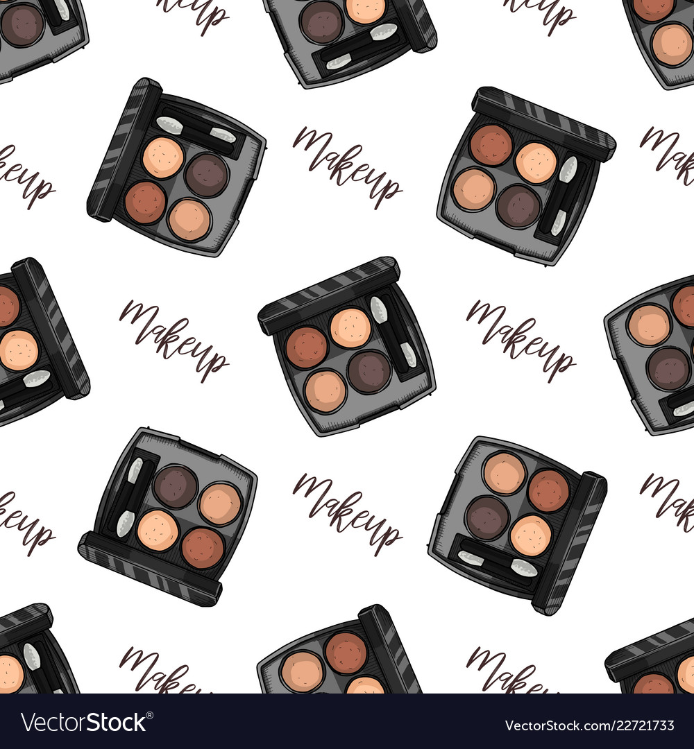 Seamless pattern sketch set makeup products