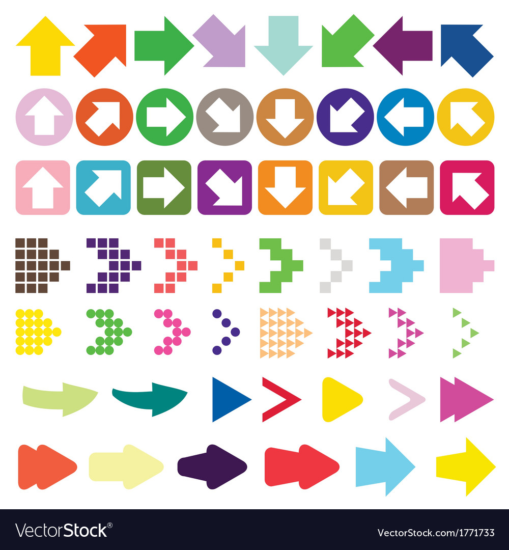 Set of arrow color full vector image