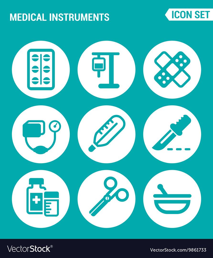 Set of round icons white Medical instruments