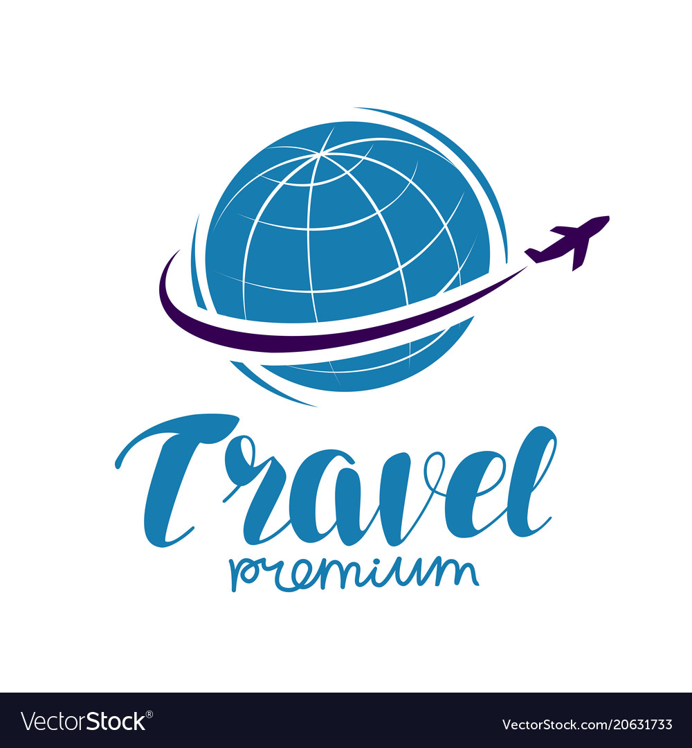 Travel logo or label journey tour voyage symbol
