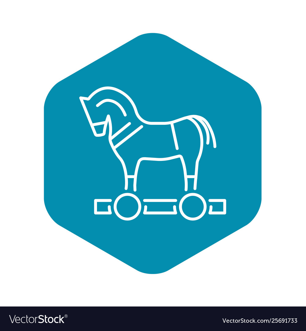 Trojan Horse Virus Icon Outline Style Royalty Free Vector