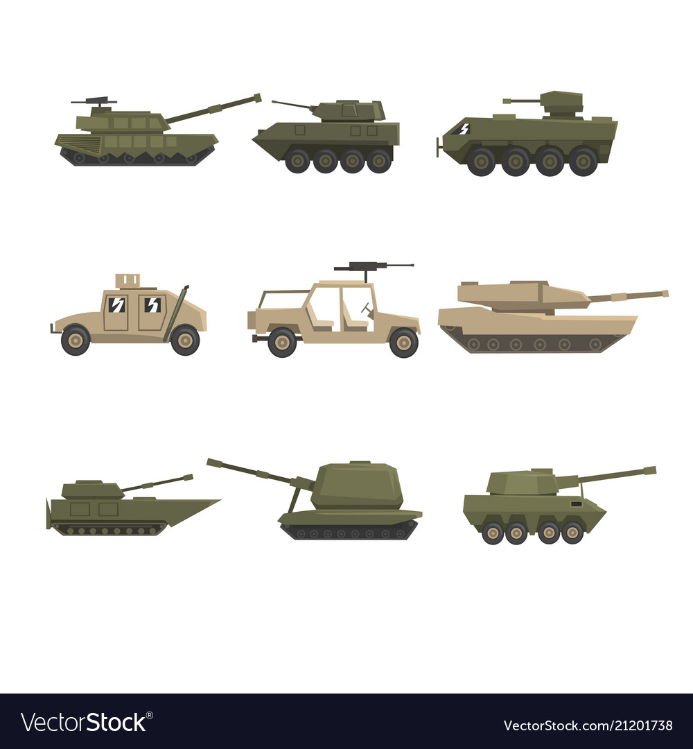 Armored army vehicles set military heavy special