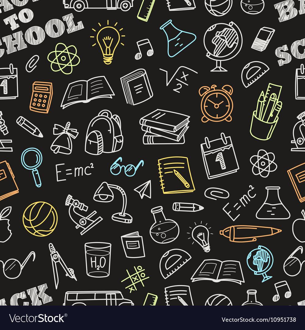 Back to school chalk doodles seamless pattern