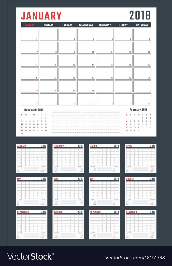 Calendar for 2018 starts sunday calendar