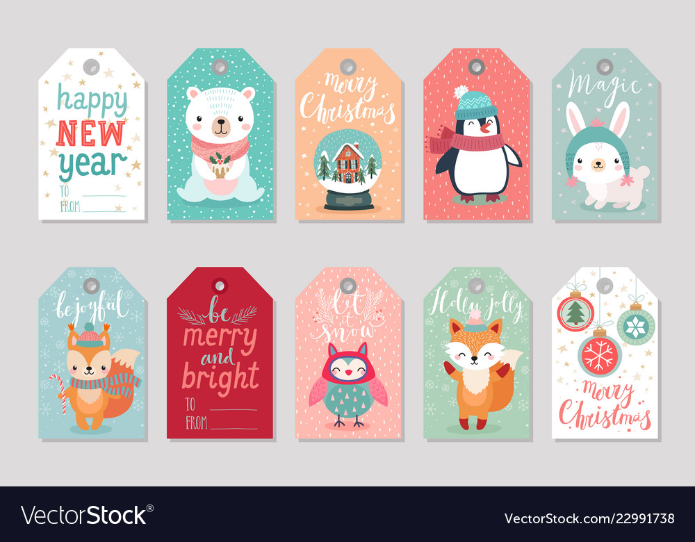 Christmas gift tags set with cute characters