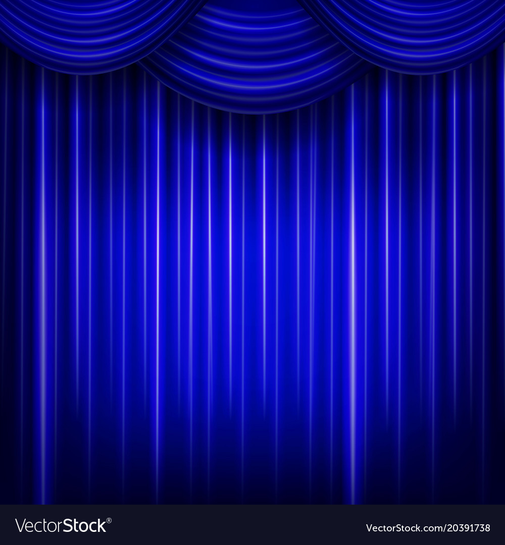 Curtain or drapes blue background Royalty Free Vector Image