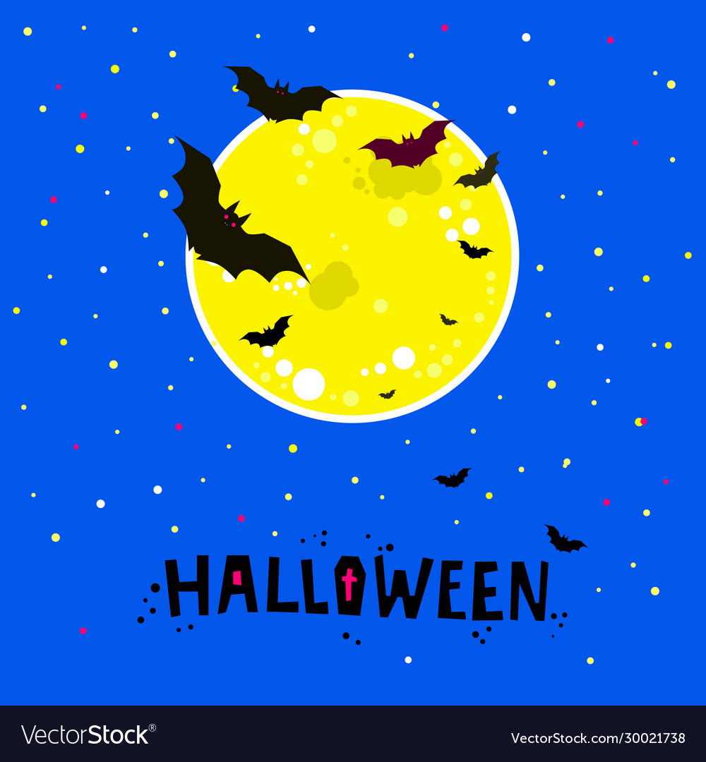 Halloween bats flying in night with a full moon