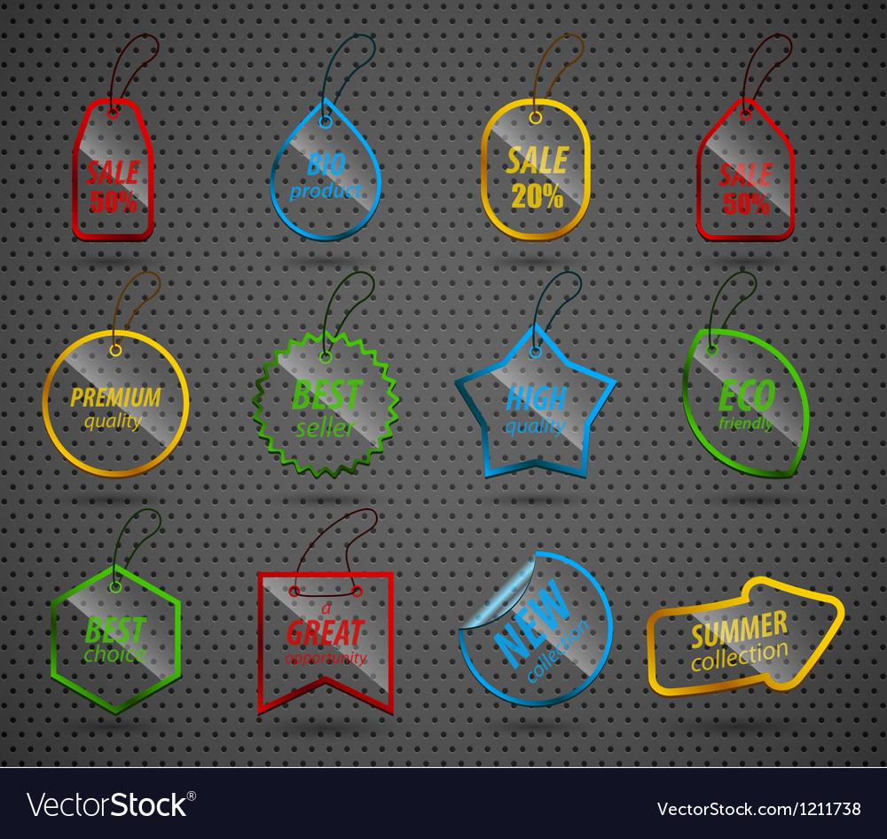 Set of design glass elements vector image