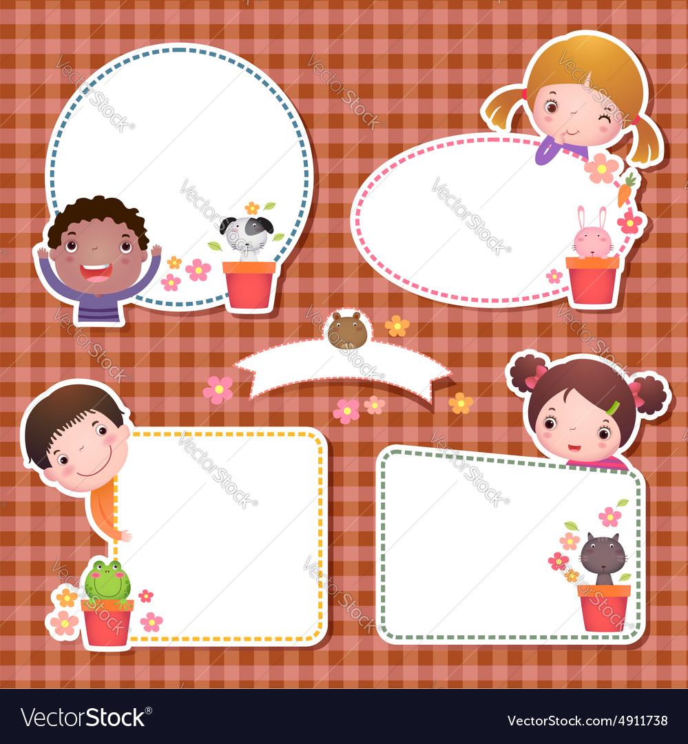 Set of four frames with cute cartoon kids