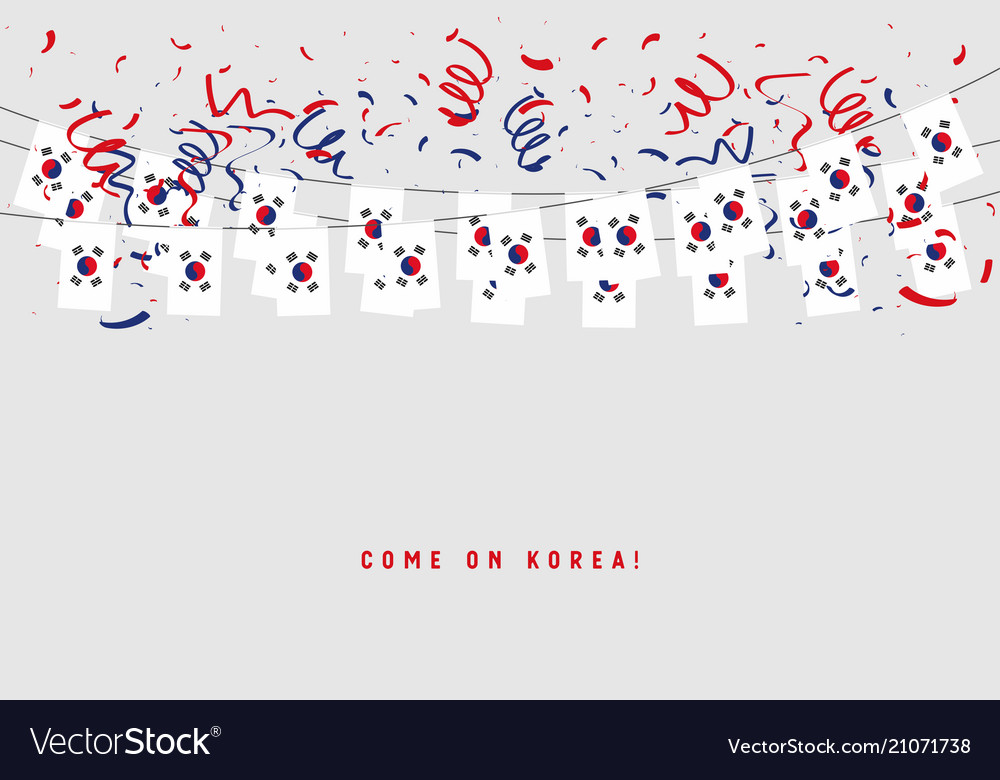 South korea garland flag with confetti