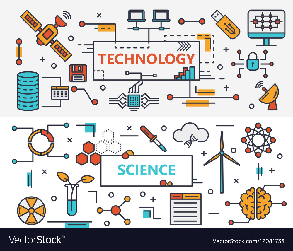 Thin line flat design Technology and vector image