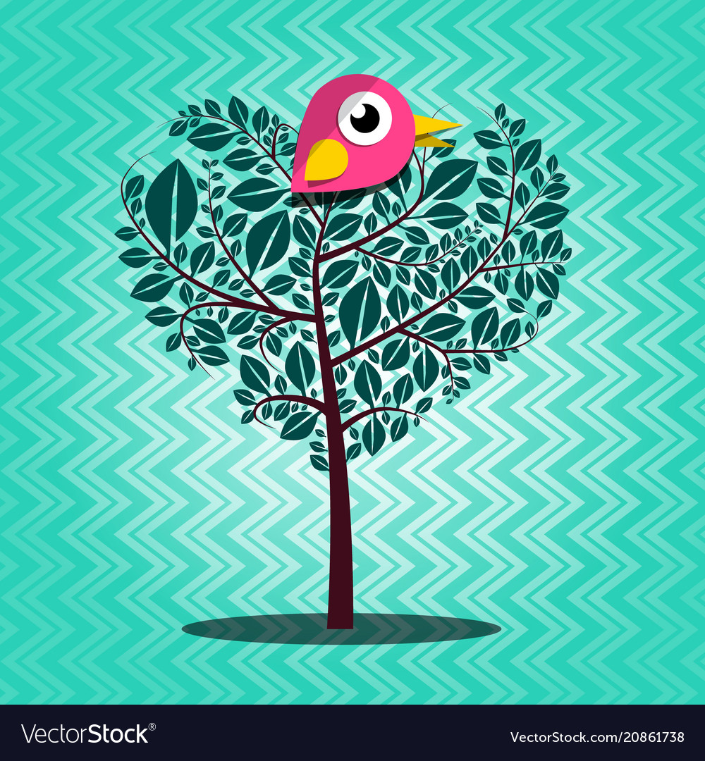 Tree with bird on retro background vector image