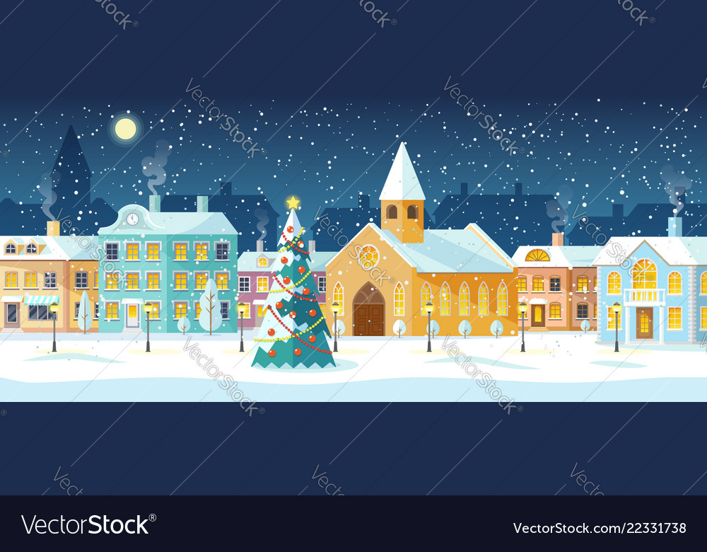 Winter cityscape snowy street with christmas tree