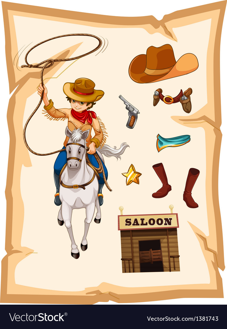 A paper with a drawing of a cowboy and a saloon