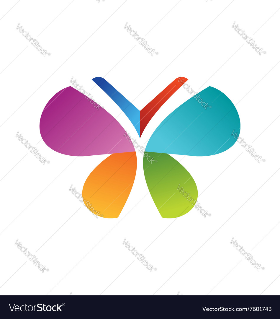 Butterfly logo beautiful health concept symbol