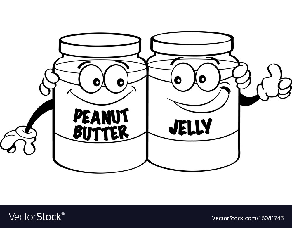 Cartoon peanut butter and jelly jars