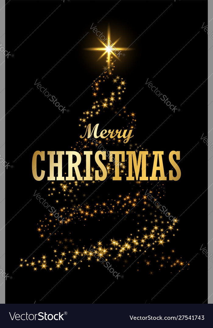 Christmas tree card black background gold