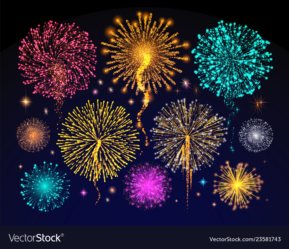 Fireworks celebration of holiday night sky light
