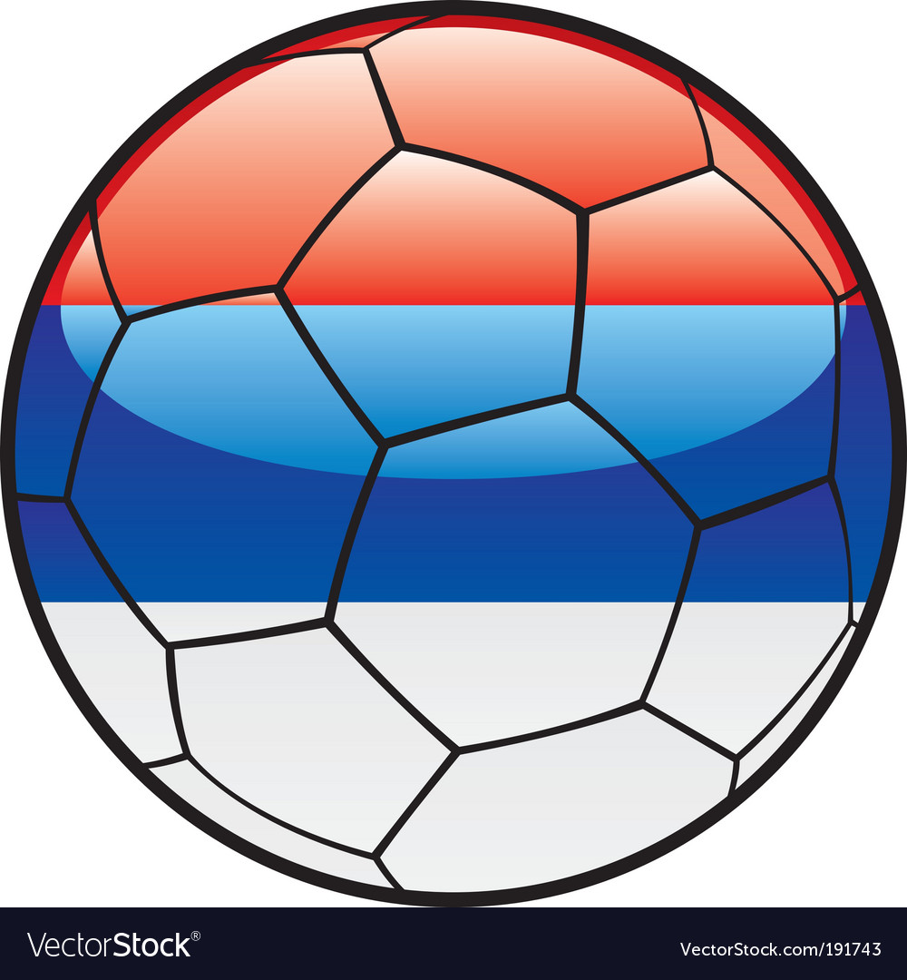 Flag of Serbia on soccer ball