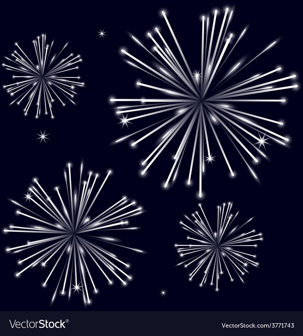 Grayscale shiny fireworks on black background